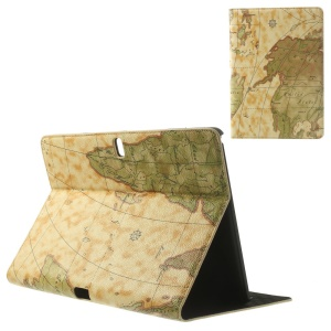 Yellow World Map Pattern Leather Flip Case w/ Stand for Samsung Galaxy Tab Pro 10.1 T520 T525