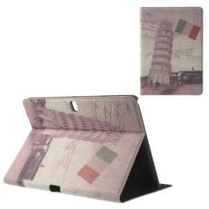 For Samsung Galaxy Tab Pro 10.1 T520 T525 Italian the Leaning Tower of Pisa Vintage Leather Flip Case Stand