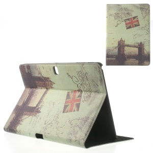 London Bridge Vintage Pattern Leather Flip Case Stand for Samsung Galaxy Tab Pro 10.1 T520 T525