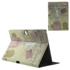 USA the Statue of Liberty Retro Cross Grain Leather Case w/ Stand for Samsung Galaxy Tab Pro 10.1 T520 T525