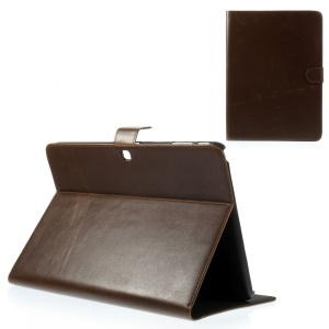 Coffee Textured Leather Stand Case w/ Card Slots for Samsung Galaxy Tab 4 10.1 T530 T531 T535