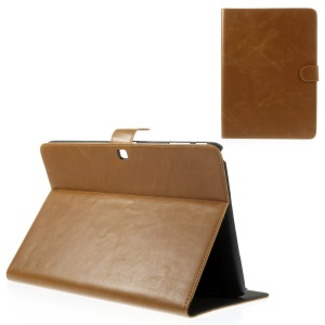Brown Textured Leather Stand Cover w/ Card Slots for Samsung Galaxy Tab 4 10.1 T530 T531 T535
