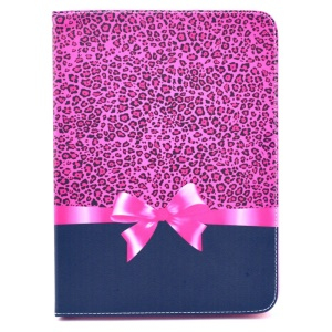 Fashion Leopard & Bowknot Stand Leather Case for Samsung Galaxy Tab 4 10.1 T530 T531 T535