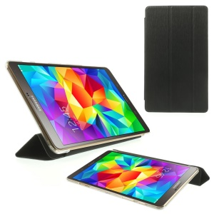 Toothpick Grain Tri-fold Leather Stand Case for Samsung Galaxy Tab S 8.4 T700 T705 - Black