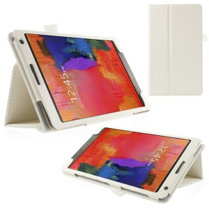 Litchi Leather Stand Cover for Samsung Galaxy Tab S 8.4 T700 T705 - White