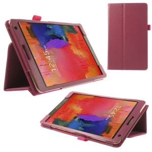 Litchi Leather Folio Case for Samsung Galaxy Tab S 8.4 T700 T705 w/ Stand - Rose