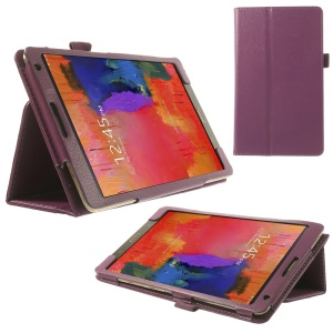 Litchi Folio Leather Case for Samsung Galaxy Tab S 8.4 T700 T705 w/ Stand - Purple