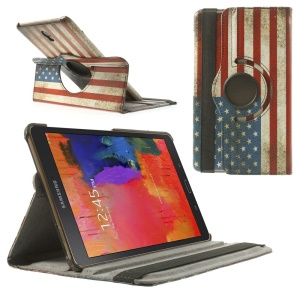 For Samsung Galaxy Tab S 8.4 T700 Leather Case Rotating Stand - Retro US National Flag