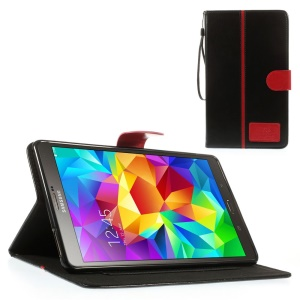 Black Crazy Horse Leather Stand Case w/ Card Slots & Lanyard for Samsung Galaxy Tab S 8.4 T700 T705
