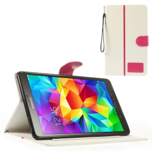 White Crazy Horse Leather Stand Cover w/ Card Slots & Lanyard for Samsung Galaxy Tab S 8.4 T700 T705