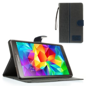 Gray Crazy Horse Leather Stand Shell w/ Card Slots & Lanyard for Samsung Galaxy Tab S 8.4 T700 T705