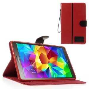 Red Crazy Horse Leather Card Holder Shell w/ Lanyard for Samsung Galaxy Tab S 8.4 T700 T705