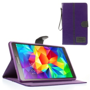 Purple Crazy Horse Card Holder Leather Case w/ Lanyard for Samsung Galaxy Tab S 8.4 T700 T705