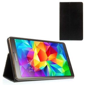 Black Leather Stand Case w/ Card Slots & Elastic Band for Samsung Galaxy Tab S 8.4 T700 T705