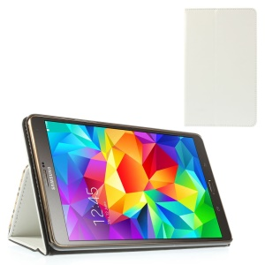 White Leather Stand Cover w/ Card Slots & Elastic Band for Samsung Galaxy Tab S 8.4 T700 T705