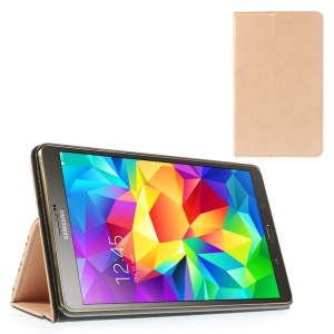 Flesh Color Leather Stand Shell w/ Card Slots & Elastic Band for Samsung Galaxy Tab S 8.4 T700 T705