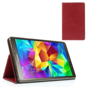 Red Leather Cover Card Holder w/ Elastic Band for Samsung Galaxy Tab S 8.4 T700 T705