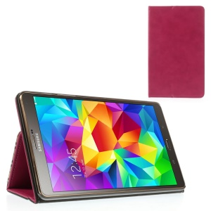 Rose Leather Shell Card Holder w/ Elastic Band for Samsung Galaxy Tab S 8.4 T700 T705