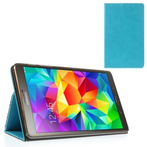 Light Blue Leather Cover Stand w/ Elastic Band for Samsung Galaxy Tab S 8.4 T700 T705