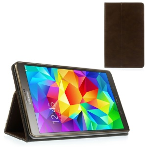 Coffee Leather Flip Case Stand w/ Elastic Band for Samsung Galaxy Tab S 8.4 T700 T705