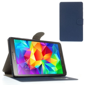 Sand-like Texture Leather Diary Stand Cover for Samsung Galaxy Tab S 8.4 T700 T705 - Blue