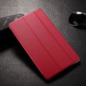 Tri-fold Sand-like Smart Leather Shell for Samsung Galaxy Tab S 8.4 T700 T705 - Red