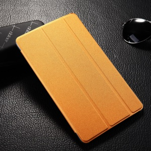 Tri-fold Sand-like Smart Leather Stand Cover for Samsung Galaxy Tab S 8.4 T700 T705 - Orange