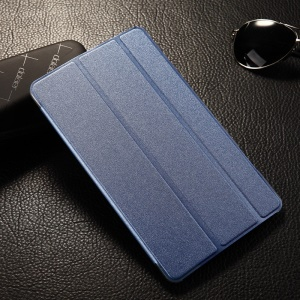 Tri-fold Sand-like Smart Leather Case Stand for Samsung Galaxy Tab S 8.4 T700 T705 - Light Blue