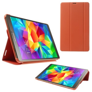 Slim Tri-fold Stand Folio Leather Cover for Samsung Galaxy Tab S 8.4 T700 T705 - Orange