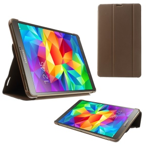 For Samsung Galaxy Tab S 8.4 T700 T705 Slim Tri-fold Stand Folio Leather Shell - Brown
