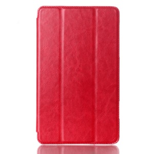Crazy Horse Tri-fold Smart Leather Shell for Samsung Galaxy Tab S 8.4 T700 T705 - Red