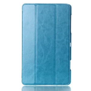 Crazy Horse Tri-fold Smart Leather Stand Cover for Samsung Galaxy Tab S 8.4 T700 T705 - Blue