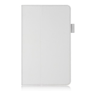 White for Samsung Galaxy Tab S 8.4 T700 T705 Leather Stand Card Holder Cover w/ Elastic Hand Strap