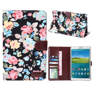 Pretty Flowers Cloth Skin Smart Leather Case Wallet for Samsung Galaxy Tab S 8.4 T700 T705 - Black