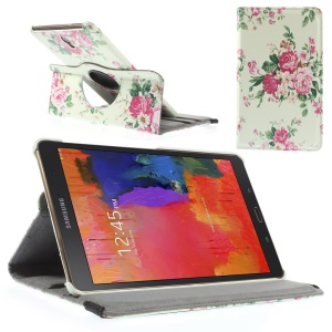 Fresh Flowers Leather Smart Case w/ 360 Degree Rotary Stand for Samsung Galaxy Tab S 8.4 T700 T705