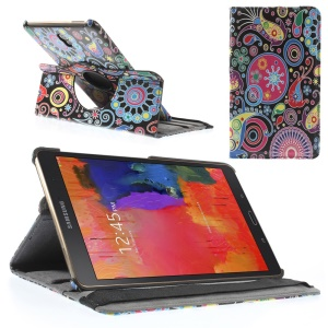 Paisley Flowers Leather Smart Cover w/ 360 Degree Rotary Stand for Samsung Galaxy Tab S 8.4 T700 T705