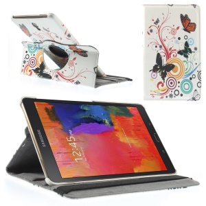 Butterfly Circles PU Leather Smart Cover w/ 360 Degree Rotary Stand for Samsung Galaxy Tab S 8.4 T700 T705