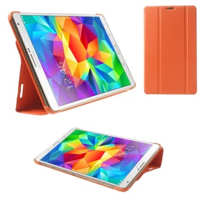 Orange Leather Smart Cover w/ Tri-fold Stand for Samsung Galaxy Tab S 8.4 T700 T705