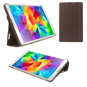 Brown PU Leather Smart Cover w/ Tri-fold Stand for Samsung Galaxy Tab S 8.4 T700 T705