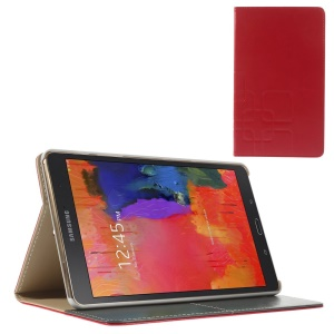 Red Grid Pattern Folio Smart Leather Cover w/ Stand for Samsung Galaxy Tab S 8.4 T700 T705