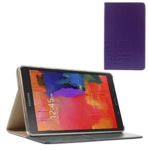 Purple Grid Pattern Leather Smart Case w/ Stand for Samsung Galaxy Tab S 8.4 T700 T705