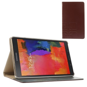 Brown Grid Pattern Leather Smart Cover w/ Stand for Samsung Galaxy Tab S 8.4 T700 T705