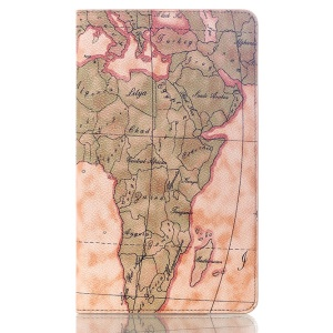 World Map Stand Smart Leather Flip Cover for Samsung Galaxy Tab S 8.4 T700 T705 - Light Brown
