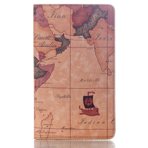 World Map Smart Stand Leather Flip Case for Samsung Galaxy Tab S 8.4 T700 T705 - Brown