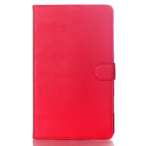 For Samsung Galaxy Tab S 8.4 T700 T705 Glossy Surface Smart Leather Magnetic Shell w/ Stand - Red
