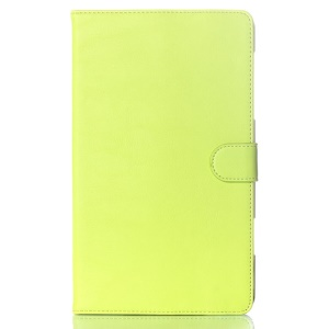 For Samsung Galaxy Tab S 8.4 T700 T705 Glossy Surface Magnetic Smart Leather Case w/ Stand - Yellowgreen