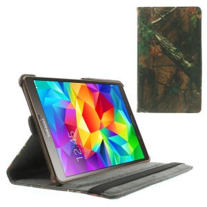 Green Leaves Tree Branches Leather Smart Cover w/ 360 Degree Rotary Stand for Samsung Galaxy Tab S 8.4 T700 T705
