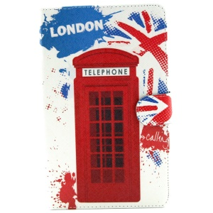 Red Telephone Booth Leather Stand Shell w/ Wallet for Samsung Galaxy Tab S 8.4 T700 T705