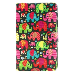 Multiple Elephants Stand Leather Case Cover w/ Wallet for Samsung Galaxy Tab S 8.4 T700 T705