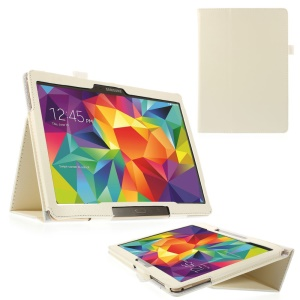 White Litchi Leather Cover for Samsung Galaxy Tab S 10.5-inch T800 T805 w/ Stand
